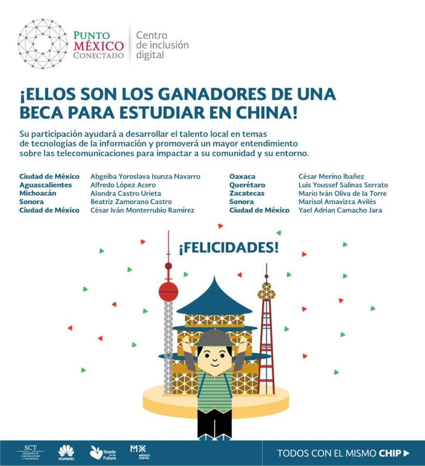 Socios de Punto México Conectado ganan beca para estudiar en China