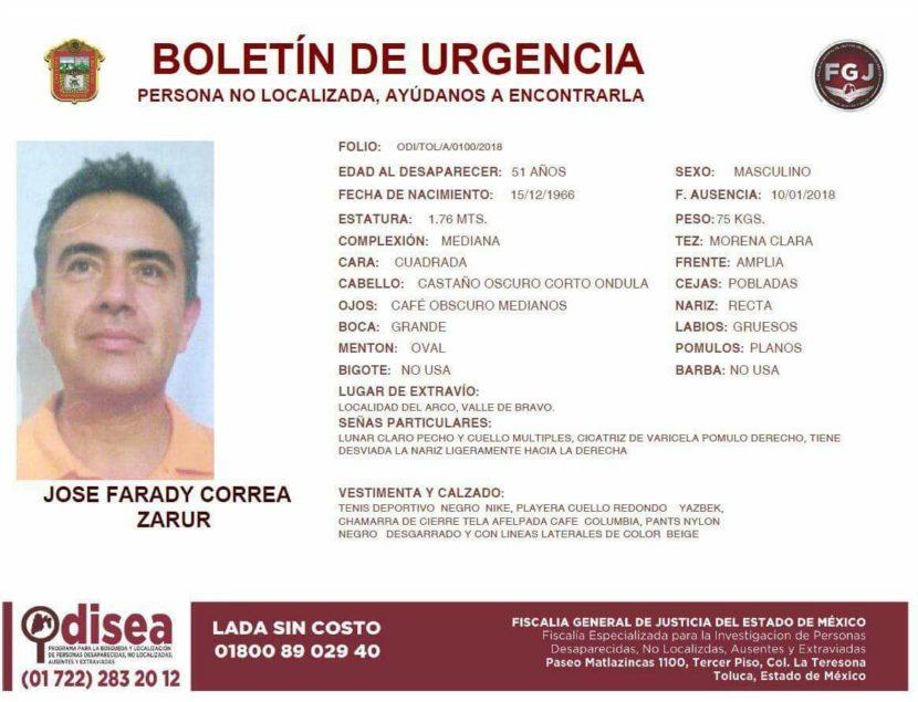 BOLETÍN DE URGENCIA DE JOSÉ FARADY CORREA ZARUR