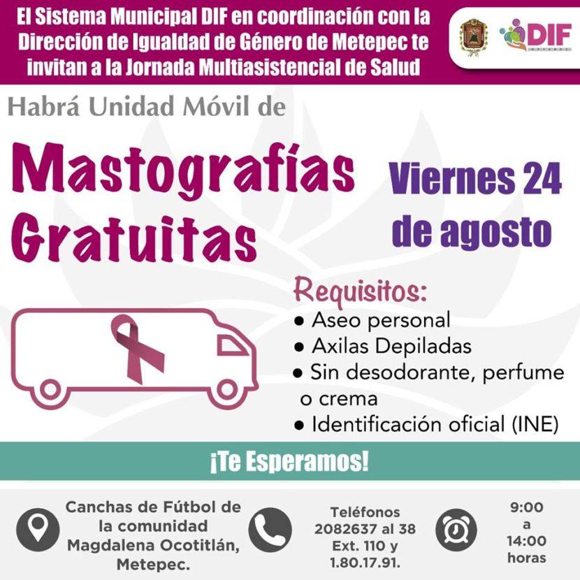 INVITA METEPEC A JORNADA MULTIASISTENCIAL DE SALUD