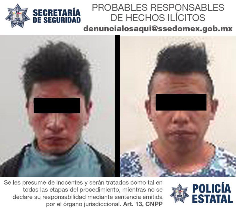 POLICÍA ESTATAL DETIENE A DOS SUJETOS  PROBABLEMENTE RELACIONADOS EN DELITOS CONTRA LA SALUD