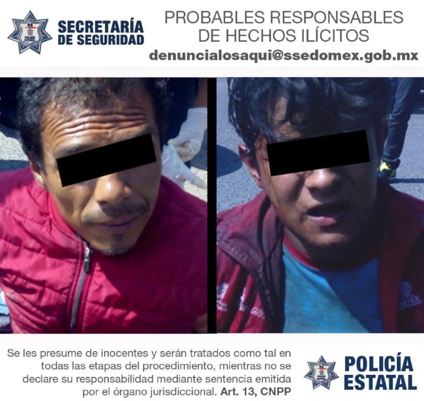 ELEMENTOS DE SS DETIENEN A DOS PRESUNTOS IMPLICADOS EN ROBO CON VIOLENCIA