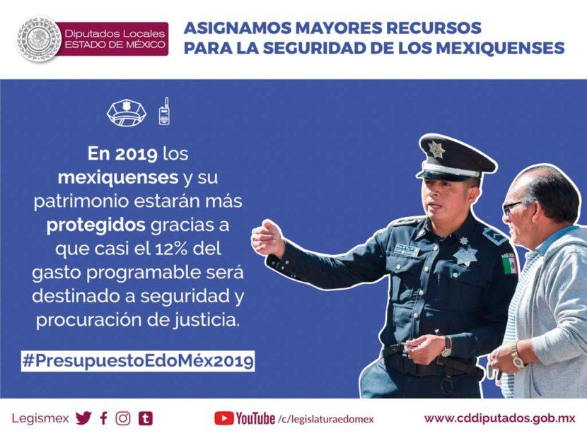 FORTALECEN LA SEGURIDAD PÚBLICA CON 12 % DEL GASTO PROGRAMABLE DEL ESTADO DE MÉXICO EN 2019