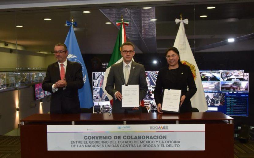 GOBIERNO DEL ESTADO DE MÉXICO Y LA UNODC FIRMAN CONVENIO PARA EVALUAR Y FORTALECER LA ESTRATEGIA INTEGRAL DE SEGURIDAD
