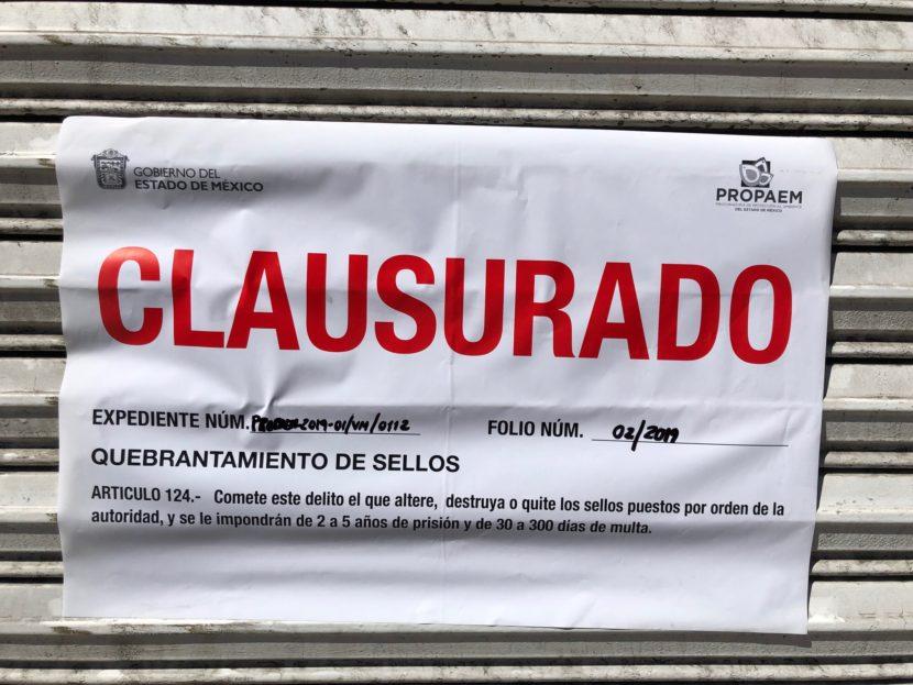 CLAUSURA INVEAMÉX LOCAL IRREGULAR GRACIAS A DENUNCIA CIUDADANA