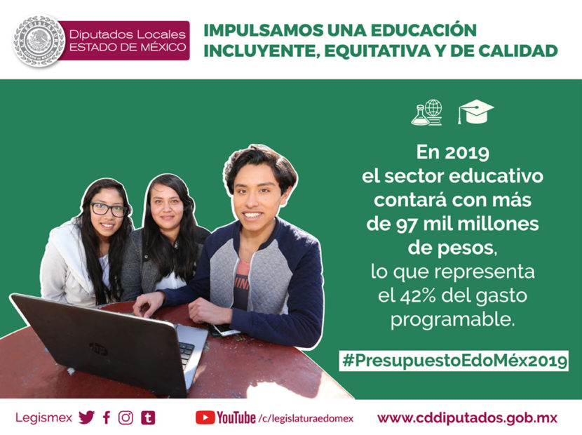 DESTINAN LEGISLADORES 42% DEL GASTO PROGRAMABLE  AL SECTOR EDUCATIVO ESTATAL