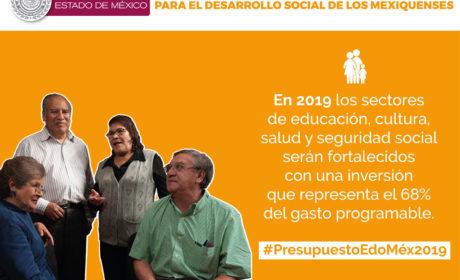 DESTINARÁN 68.1 % DEL PRESUPUESTO 2019 AL DESARROLLO SOCIAL DEL EDOMÉX
