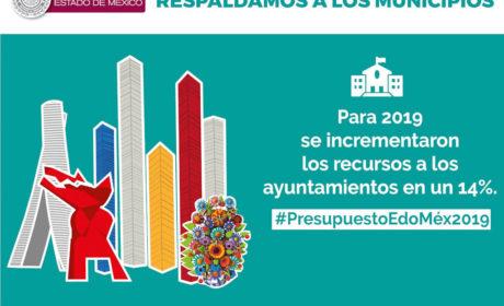 CUENTAN AYUNTAMIENTOS MEXIQUENSES CON MÁS RECURSOS EN 2019