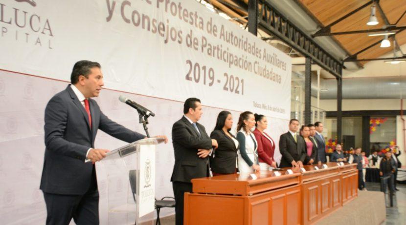 TOMAN PROTESTA AUTORIDADES AUXILIARES Y CONSEJOS DE PARTICIPACIÓN CIUDADANA DE TOLUCA