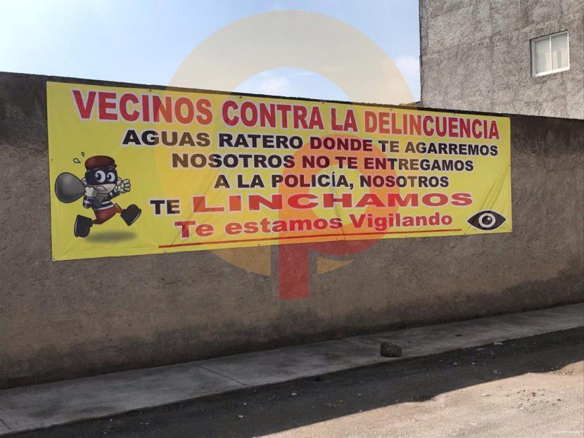 VECINOS DE ZINACANTEPEC LANZAN ADVERTENCIA A DELINCUENTES