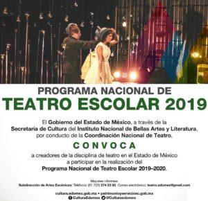 ABREN CONVOCATORIA DEL PROGRAMA NACIONAL DE TEATRO ESCOLAR EDOMÉX 2019-2020