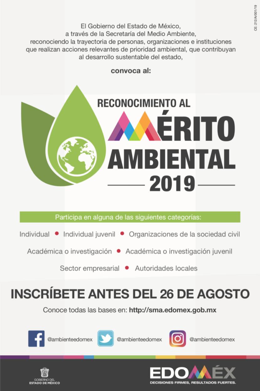 """CONVOCA GEM A PARTICIPAR POR EL PREMIO """"RECONOCIMIENTO AL MÉRITO AMBIENTAL 2019"""""""