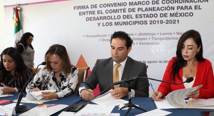 FIRMA GOBIERNO DE HUIXQUILUCAN CONVENIO DE COORDINACIÓN CON EL COPLADEM