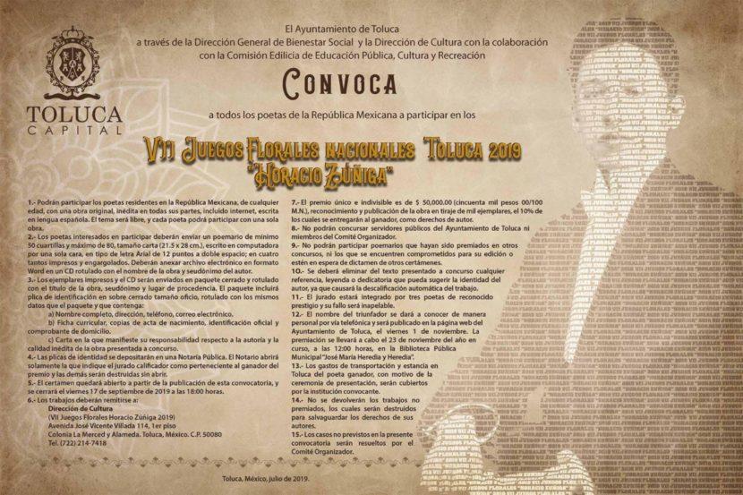"""CONVOCAN A LOS VII JUEGOS FLORALES NACIONALES TOLUCA 2019 """"HORACIO ZÚÑIGA"""""""