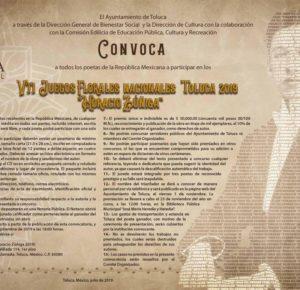 ANUNCIA TOLUCA OBRA GANADORA DE LOS VII JUEGOS FLORALES NACIONALES