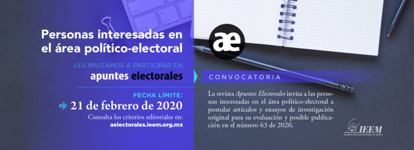INVITA IEEM A INVESTIGADORES A PUBLICAR  EN REVISTA APUNTES ELECTORALES