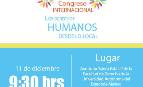 INVITA TOLUCA A PRIMER CONGRESO INTERNACIONAL «LOS DERECHOS HUMANOS DESDE LO LOCAL»
