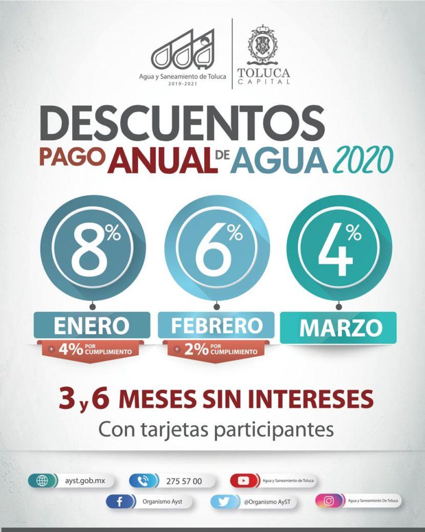 INICIA AGUA Y SANEAMIENTO DE TOLUCA DESCUENTOS EN PAGO ANUAL 2020