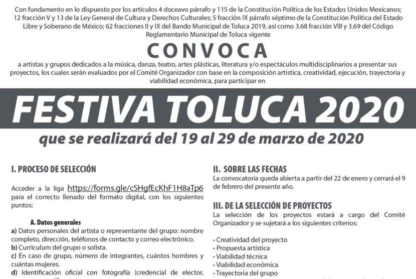 CONVOCAN A ARTISTAS PARA PARTICIPAR EN FESTIVA TOLUCA 2020