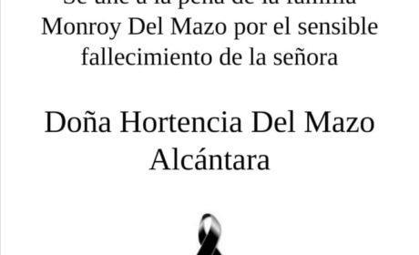 APVT: PÉSAME POR FALLECIMIENTO DE DOÑA HORTENCIA DEL MAZO ALCÁNTARA