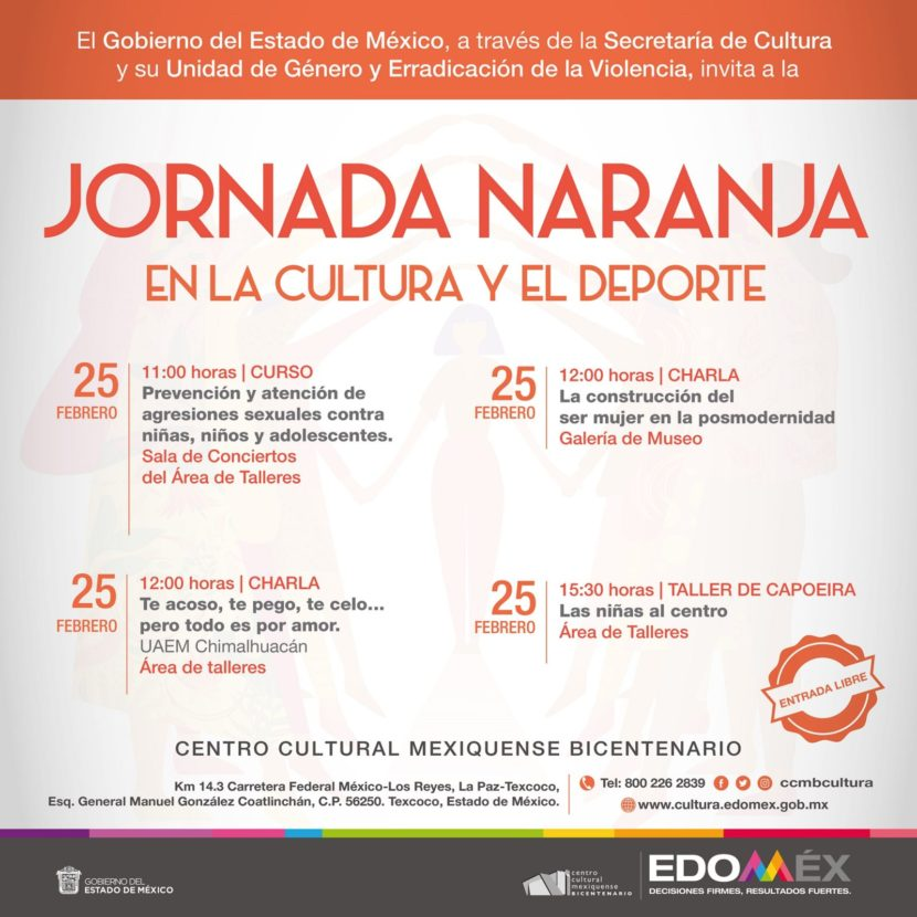ORGANIZAN JORNADA NARANJA EN EL CENTRO CULTURAL MEXIQUENSE BICENTENARIO