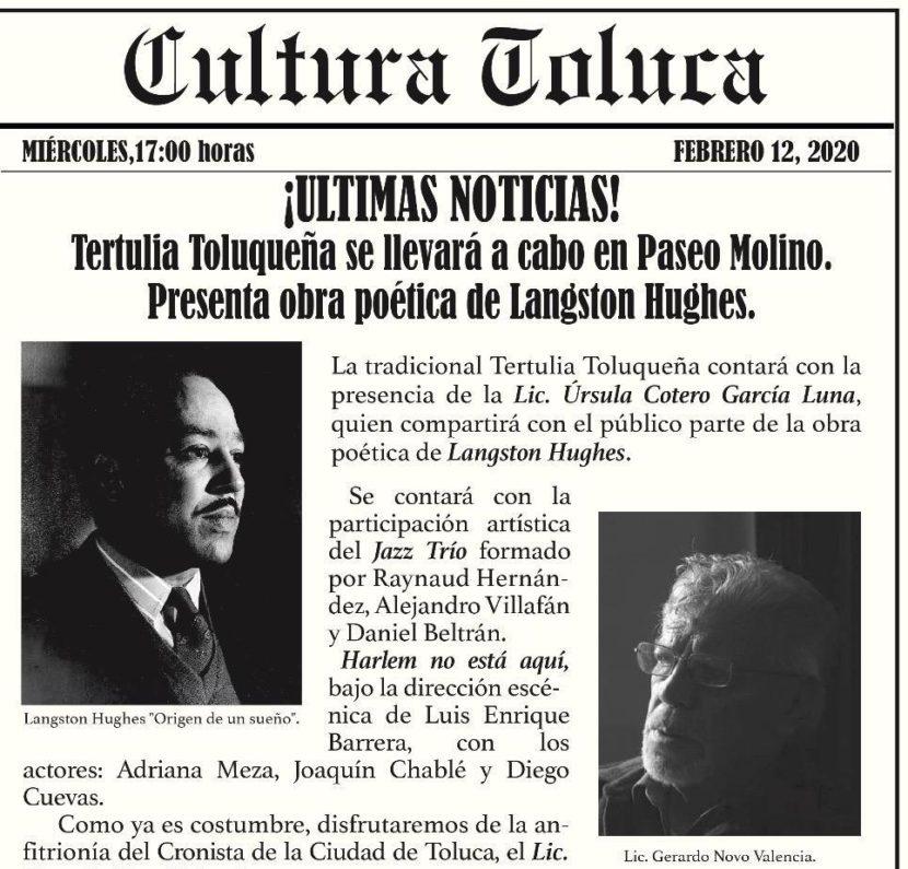 TERTULIA TOLUQUEÑA EN EL PASEO MOLINO