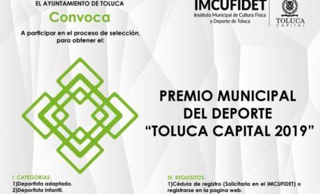 CONVOCAN AL PREMIO MUNICIPAL DEL DEPORTE «TOLUCA CAPITAL»