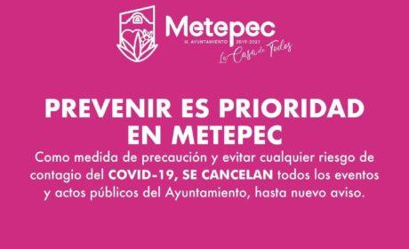 SUSPENDE GOBIERNO DE METEPEC ACTOS Y EVENTOS PÚBLICOS
