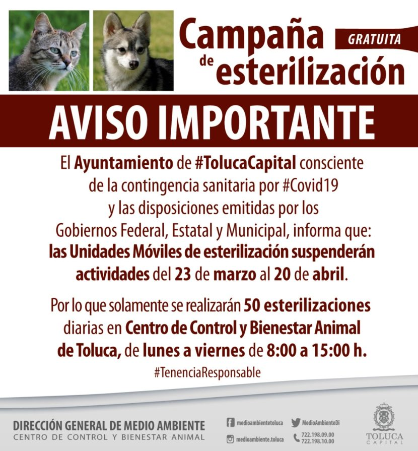 DIRECCIÓN DE MEDIO AMBIENTE DE TOLUCA SUSPENDE ACTIVIDADES