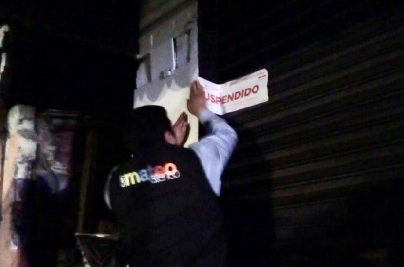 CIERRE DE CENTROS NOCTURNOS Y BARES EN SAN MATEO ATENCO