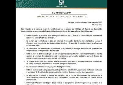 IMSS DETALLA LA COMPRA LOCAL DE VENTILADORES EN HIDALGO