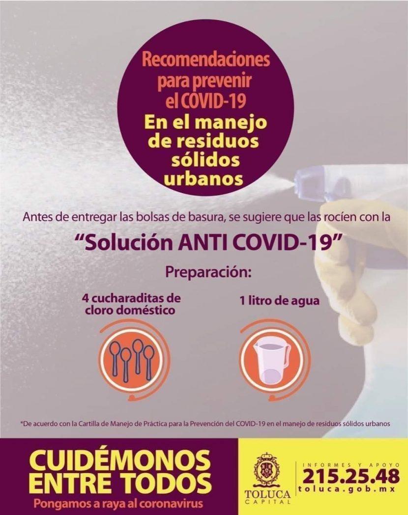 TOLUCA EMITE RECOMENDACIONES EN MANEJO DE RESIDUOS PARA PREVENIR COVID-19
