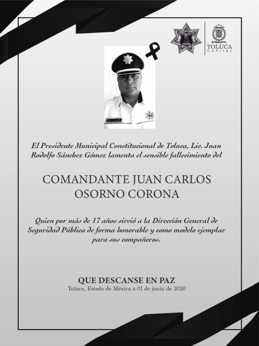 COVID-19 COBRA VIDA DE UN POLICÍA MUNICIPAL DE TOLUCA