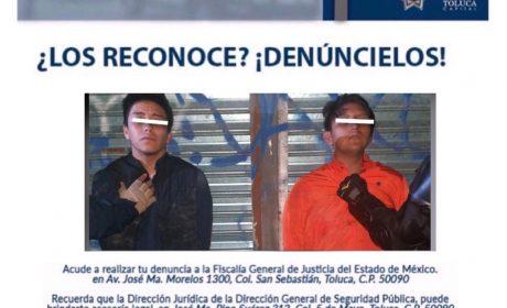 POLICÍA MUNICIPAL DE TOLUCA DETIENE A DOS PORTADORES DE ARMA Y ESTUPEFACIENTES