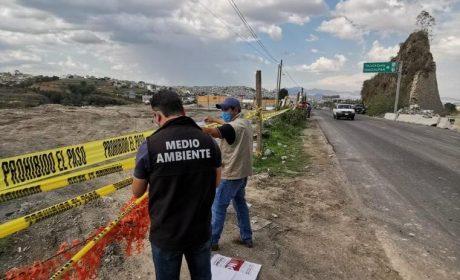 SUSPENDEN TIRO ILEGAL DE CASCAJO EN CARRETERA NAUCALPAN-TOLUCA