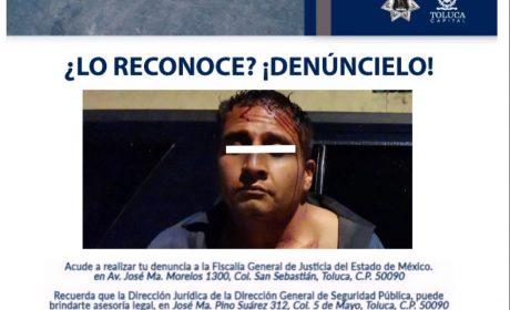 POLICÍA MUNICIPAL DE TOLUCA DETIENE A DELINCUENTE ARMADO