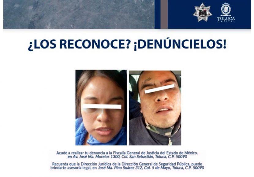 POLICÍA DE TOLUCA ASEGURA A PAREJA DE PRESUNTOS ASALTANTES