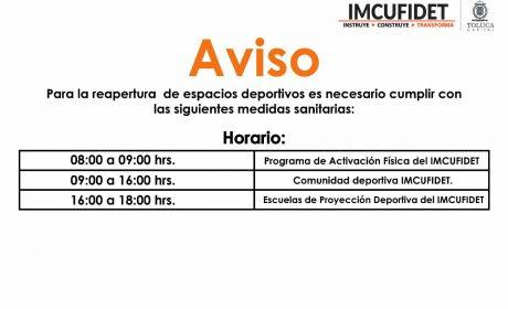 REANUDAN ACTIVIDAD FÍSICA UNIDADES DEPORTIVAS DEL IMCUFIDET