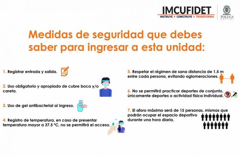 REANUDAN ACTIVIDAD FÍSICA UNIDADES DEPORTIVAS DEL IMCUFIDE