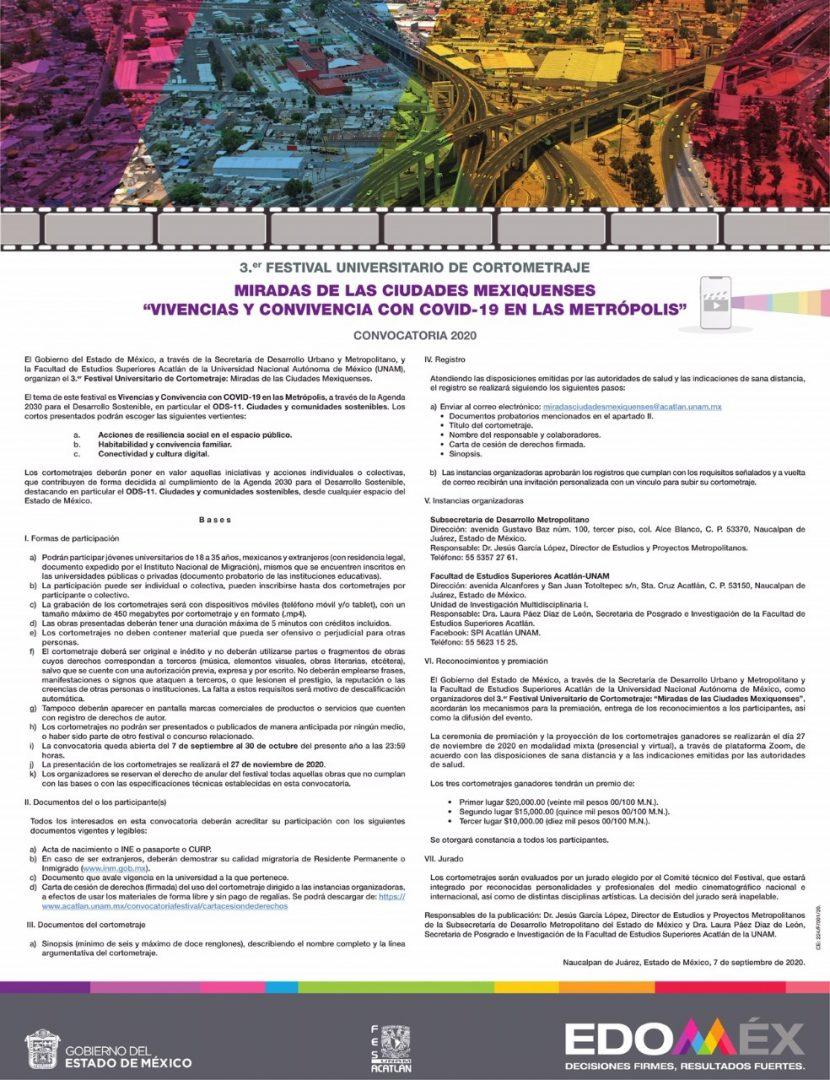 INVITAN GEM Y UNAM A PARTICIPAR EN TERCER FESTIVAL UNIVERSITARIO DE CORTOMETRAJE: MIRADAS DE LAS CIUDADES MEXIQUENS