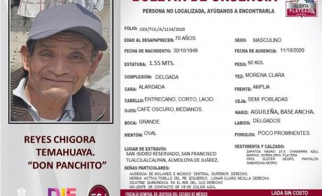 LOCALIZAN MUERTO AL ABUELITO DESAPARECIDO EN ALMOLOYA DE JUÁREZ