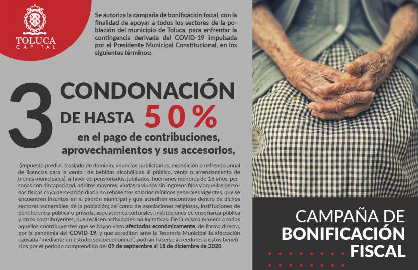 INVITA TOLUCA A APROVECHAR LA CAMPAÑA DE BONIFICACIÓN FISCAL