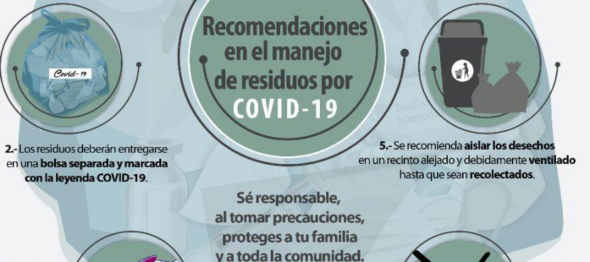 EXHORTAN A UN CORRECTO MANEJO DE RESIDUOS COVID-19
