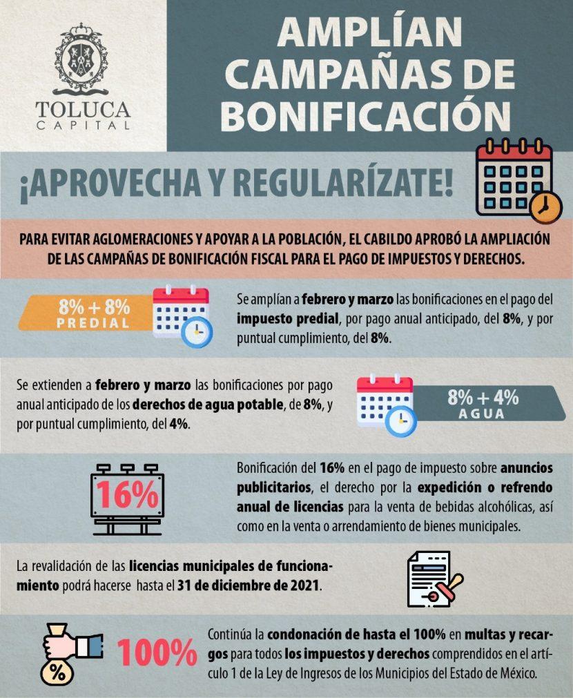 TOLUCA AMPLÍA CAMPAÑA DE BONIFICACIÓN FISCAL
