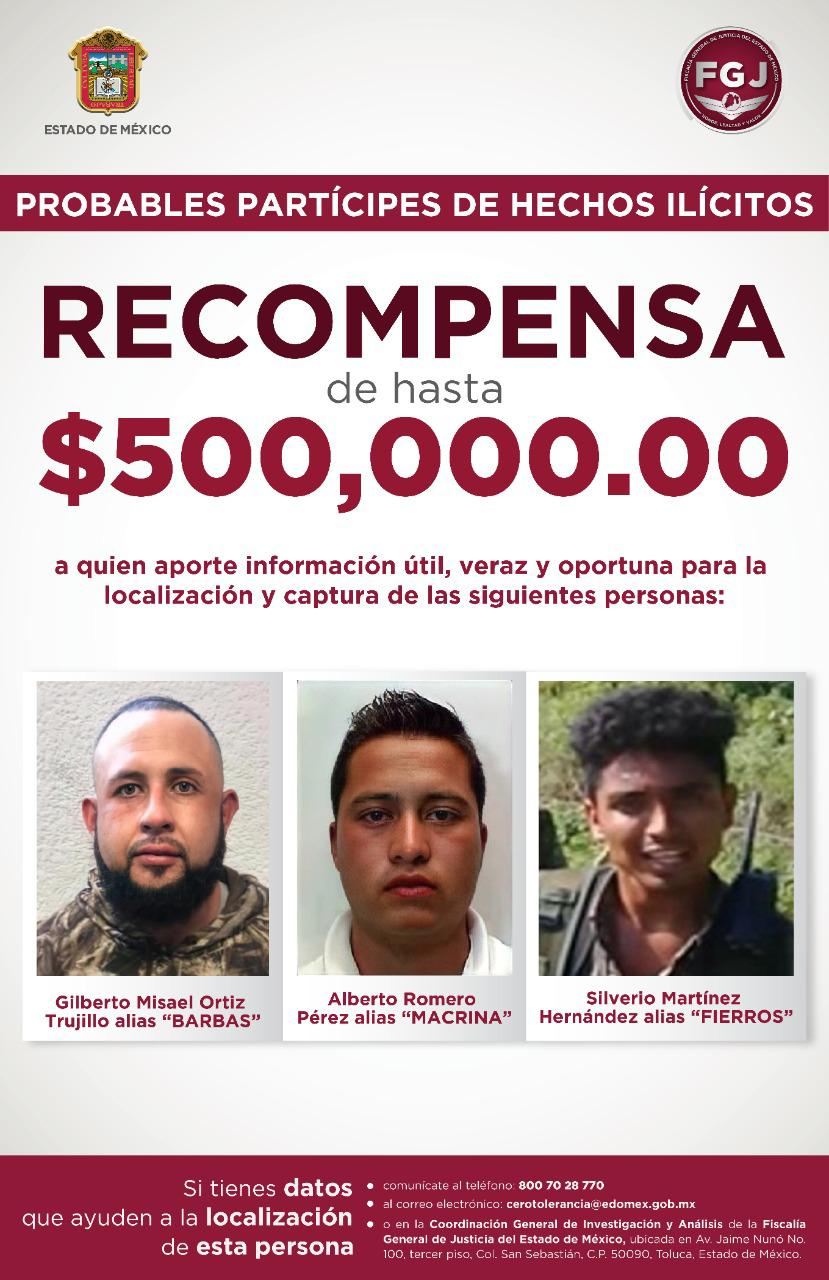OFRECE FISCALÍA 500 MIL PESOS POR RESPONSABLES DE EMBOSCADA