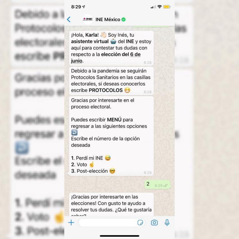 El INE tendrá bot en WhatsApp para la elección del 6 de junio en México: «Inés»