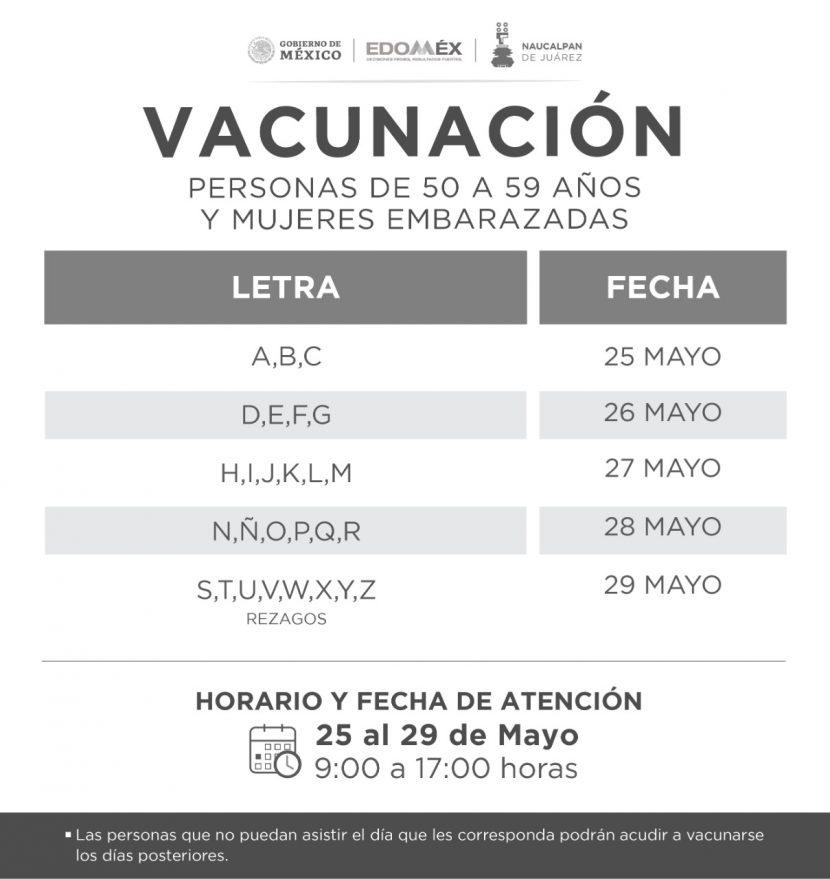 INICIA NAUCALPAN VACUNACIÓN DE 50 A 59 AÑOS Y EMBARAZADAS