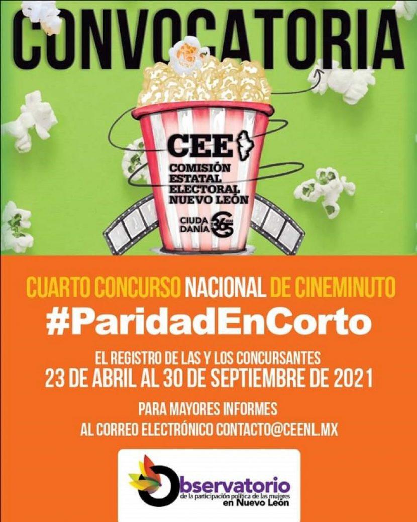 CONVOCAN AL CUARTO CONCURSO NACIONAL DE CINEMINUTO #PARIDADENCORTO