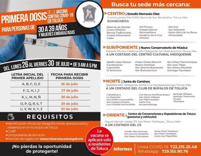 INICIARÁ TOLUCA EL 26 DE JULIO VACUNACIÓN DE 30 A 39 AÑOS