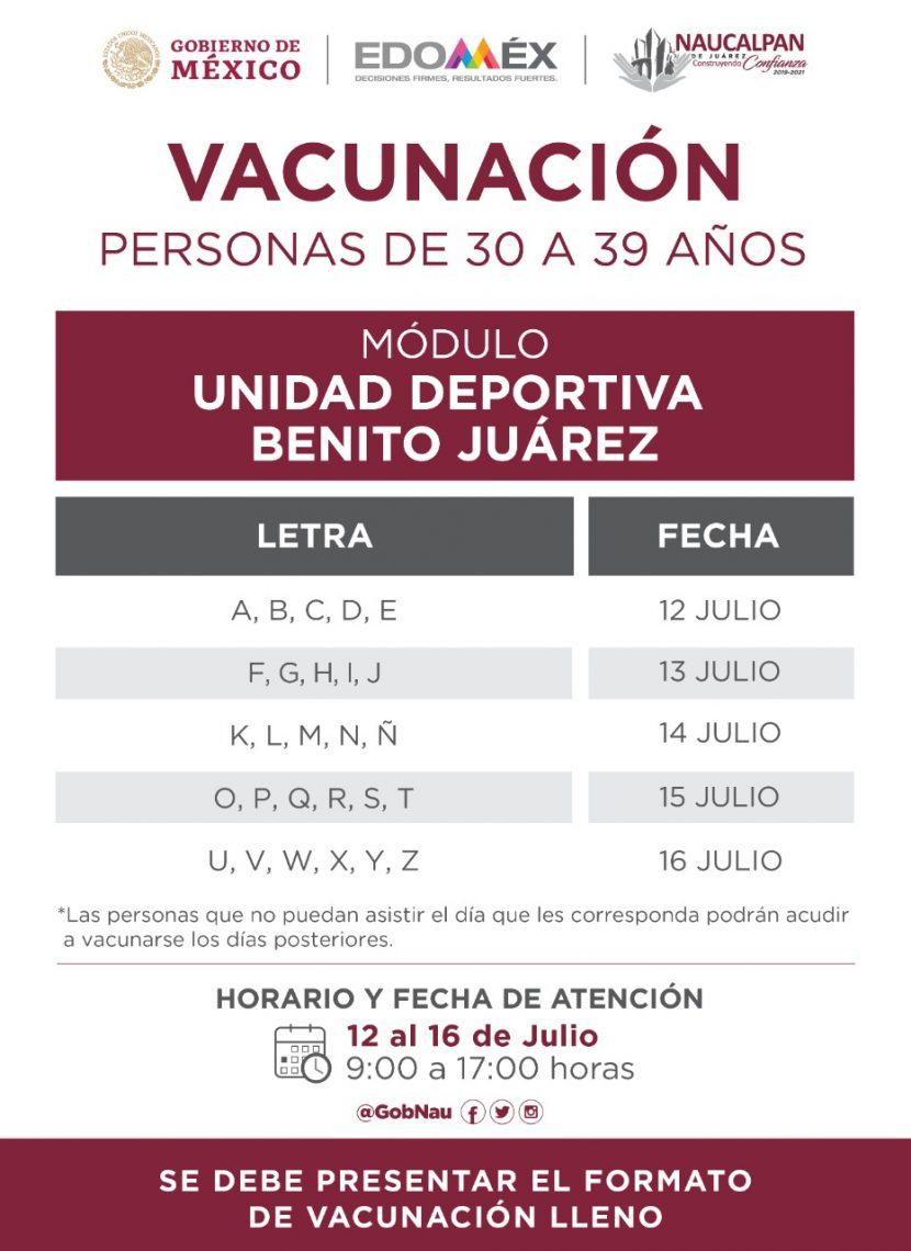 INICIA NAUCALPAN VACUNACIÓN DE ADULTOS DE 30-39 AÑOS
