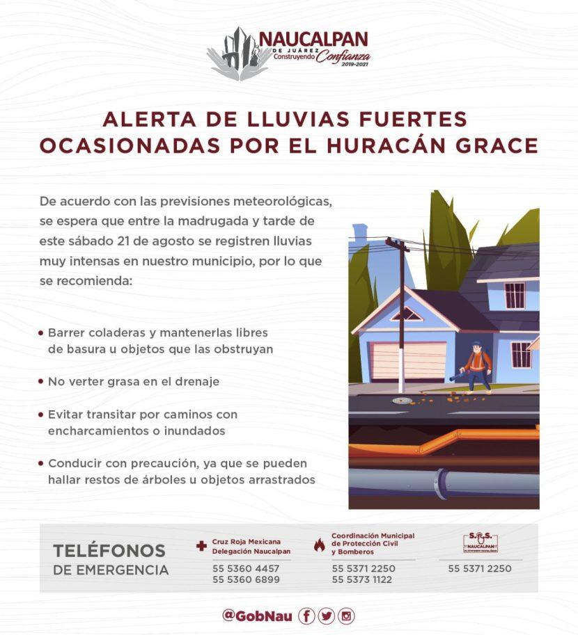 PC NAUCALPAN EXTREMAR PRECAUCIONES HURACÁN GRACE